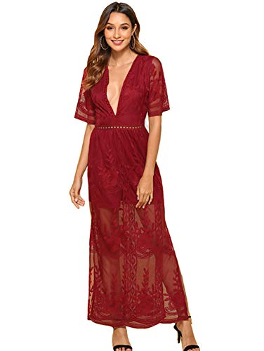 Wicky LS Women's Sexy Short Sleeve Long Dress Low V-Neck Lace Romper (L, Wine Red) (Sexy Lace Maxi Dress)