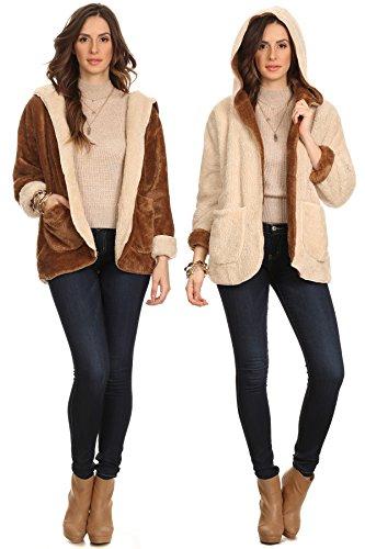 - Mocha Brown Reversible Beige Taupe Cozy Microsherpa Sherpa Warm Lightweight Long Sleeve Comfortable Faux Fur Soft Furry Teddy Bear Winter Hoodie Cardigan Jacket Pockets Small (Brown Fur Hoodie Jacket)