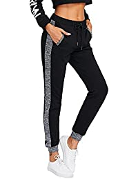 Women Pants Color Block Casual Tie Waist Yoga Jogger Pants