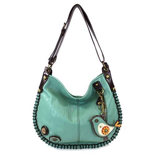 CHALA Crossbody Handbag, Hobo Style, Casual, Soft, Shoulder or Crossbody - Teal - Green Bird by CHALA