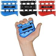 Finger Strengthener (3 Pack) - Guitar Digit Exerciser - Hand Grip Workout Equipment for Musician, Rock Climbin