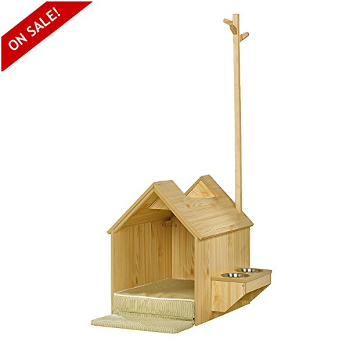 Dog Indoor Houses For Small Dogs Durable Wooden Construction With Elevated Food Shelf And Stainless Steel Bowls - Skroutz by Skroutz