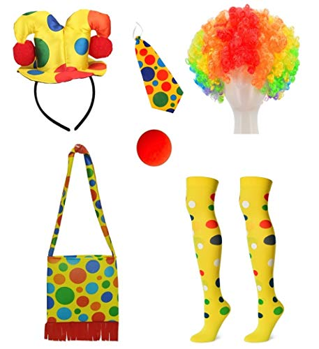 Clown Costume Hairband Hat + Shoulder Bag + Tie + Clown Nose + Rainbow Wig + Socks 6-Piece Set (XC-FAGU) ()