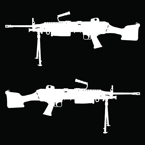 Auto Vynamics - GUNS-M249-8-GWHI - Gloss White Vinyl M249 Light Machine Gun (SAW) Tactical Assault Rifle Decal - Mirrored Pair - (2) Piece Set - (M249 Machine Gun)