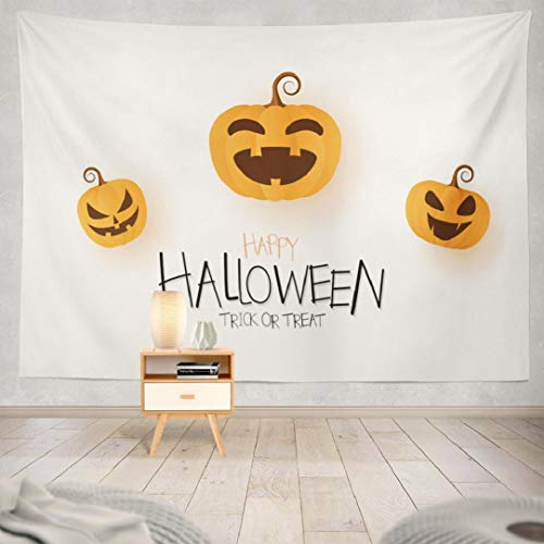 Hdmly Halloween Pumpkin Tapestry Wall Hanging Decor, Decorative Wall Tapestry Happy Halloween Greeting Card with Pumpkin Banner Autumn 60