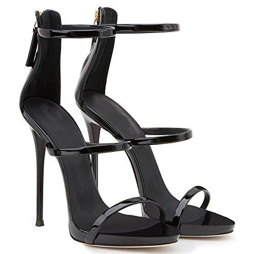 Cinghia Sandalo Tallone Aiweiyi Nero Oro Caviglia Dello Stiletto Vestito Donne xTqXBAZ