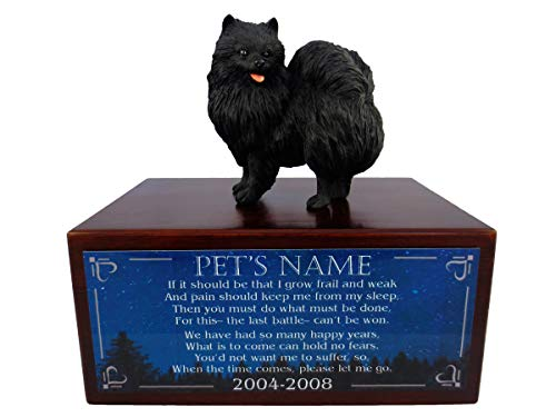 Conversation Concepts Beautiful Paulownia Small Wooden Urn with Pomeranian Black Figurine & Personalized Poem The Last Battle