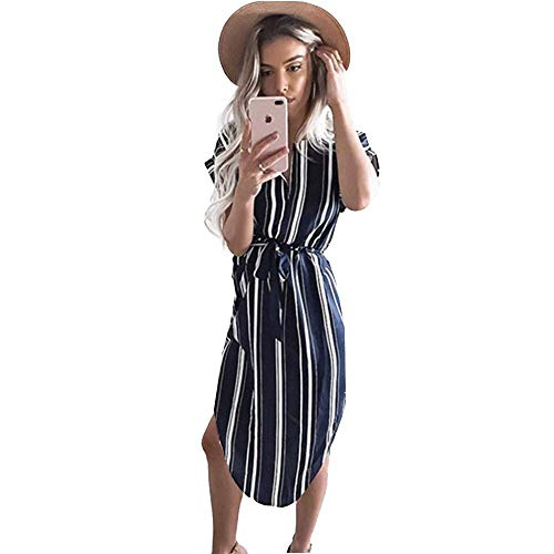 a33174a5d9 Womens Midi Dresses Summer V Neck Short Sleeve Casual Office Geometric Belted  Party Dress X-Large Stripe