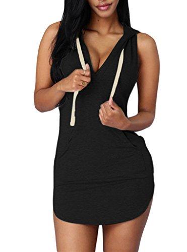 Sidefeel Women Sleeveless V Neck Cotton Sweat Hoodie Dress Large Black