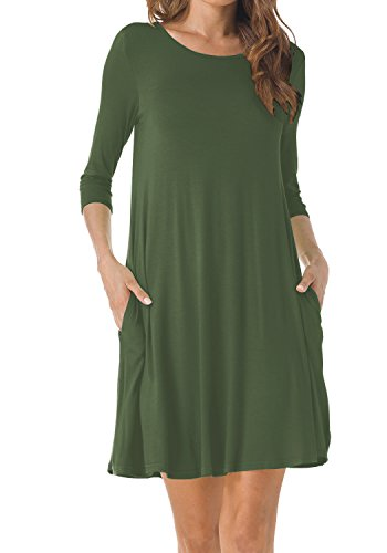 Dress Shirt Sleeve Length (TINYHI Women's O-Neck 3/4 Sleeves Tunic Pocket Loose Casual Swing Tshirt Dress(Army Green,X-Large))