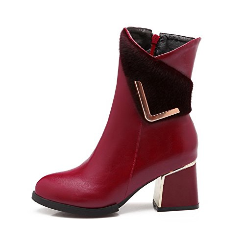 Closed WeiPoot Heels Kitten top PU Claret Boots Toe Low Pointed Women's Zipper rqfYxXBrt