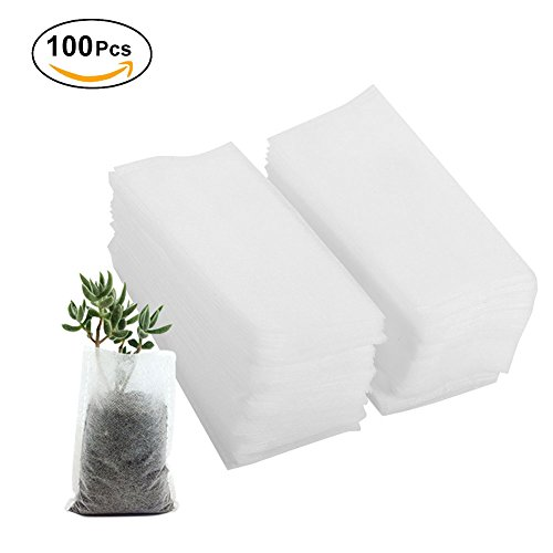 Yosoo Fabric Grow Bags, 100pcs Degradable Non-Woven Grow Bags for Plants Seeding Nursing Seeding Raising Growing Bags Pots Plants Pouch (Size:7.87 x 8.66inch) by Yosoo