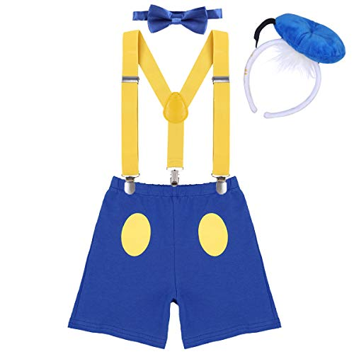 Boys Cake Smash Outfit Newborn Infant Baby 1st/2nd First Birthday Donald Duck Costume Diaper Cover Bloomers+Elastic Suspenders+Mini Hat Headband+Bow Tie 4Pcs Set for Photo Party Yellow+Blue 12-18M