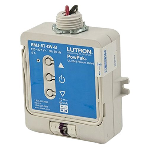 Lutron PowPak RMJ-5T-DV-B - Wireless Dimming Module - Operates 0-10V Fluorescent Ballasts or LED Drivers - 120-277 Volt