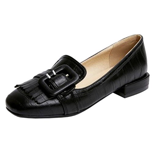 COOLCEPT Women Fashion Buckle Belt Pumps Brogues Shoes Fringed Extra Sizes Black GNlIJWN