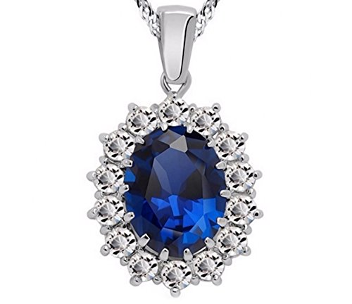 Oval 3.25 Ct Queen Elizabeth, Princess Diana, Kate Middleton British Royal Princess Created Blue Sapphire Pendant Necklace- Jewelry for Mom Daughter Sister Best Friend for Birthday Wedding Anniversary (Queen Mary Tiara)