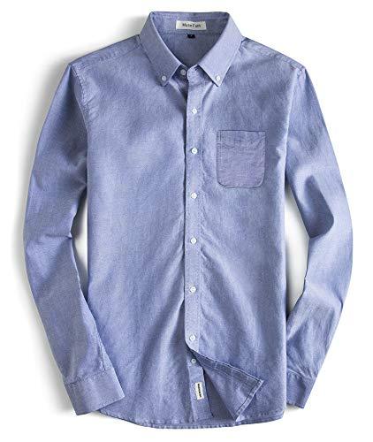 - MUSE FATH Men's Oxford Dress Shirt-Cotton Casual Long Sleeve Shirt-Button Down Point Collar Shirt-Light Blue with Pocket-XL