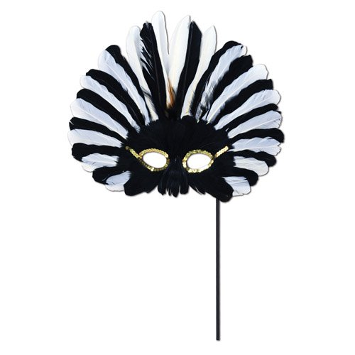 Beistle Feathered Mask with Stick for Halloween Party ()