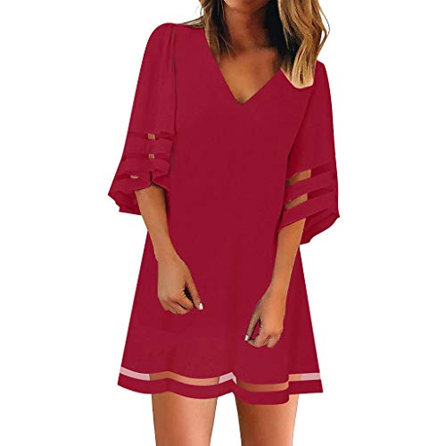 Women's V Neck Mesh Panel Blouse 3/4 Bell Sleeve Loose Top Shirt Short Sleeve Fashion Dress Red ()