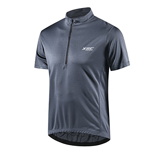 Men's Short Sleeve Cycling Jersey Bike Jerseys Cycle Biking Shirt with Quick Dry Breathable Fabric (Grey, ()