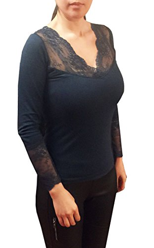 Women's Lace Thermal Shaper Top (SM, Navy)