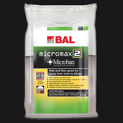 BAL Micromax 2 Tile Grout by Home Standard (2.5KG, Ebony)