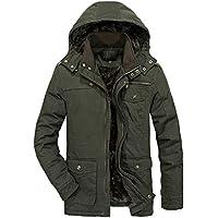 Heihuohua Men's Winter Parka Jacket Military Cotton Coat with Removable Hood