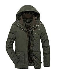 Heihuohua Men's Stand Collar Winter Thicken Military Cotton Jacket