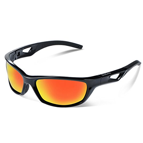 Duduma Polarized Sport Mens Sunglasses for Baseball Fishing Golf Running Cycling with Fashion Women Sunglasses and Men Sunglasses Tr80821 Flexible Superlight Frame (Frame black, Red mirror lens)