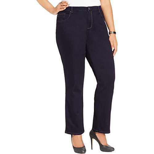 ight Leg Button Zip Fly Straight Leg Jeans Navy 22W ()