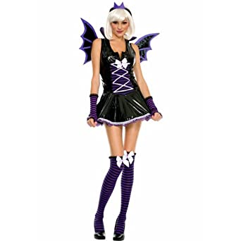 amazoncom music legs tween vinyl vampire bat girl teen halloween costume ml clothing - Teen Halloween Outfits