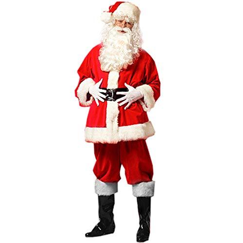 Santa Pub Crawl Costumes (Christmas Santa Claus Costumes Plush Men's Pub Flannel Crawl Santa Suit Xmas Suit)