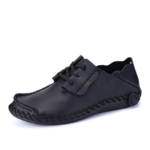 Leather Mens Loafers Lace Yuanli Shoes Driving Black UP Fashion U5xOq