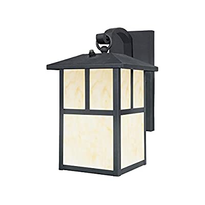 Westinghouse Lighting 6482900 Nova Scotia One-Light Outdoor Wall Lantern with Dusk to Dawn Sensor, Textured Black Finish with Honey Art Glass