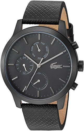 Lacoste Black pvd Quartz Watch with Leather Strap, 19 (Model: 2010997) 1