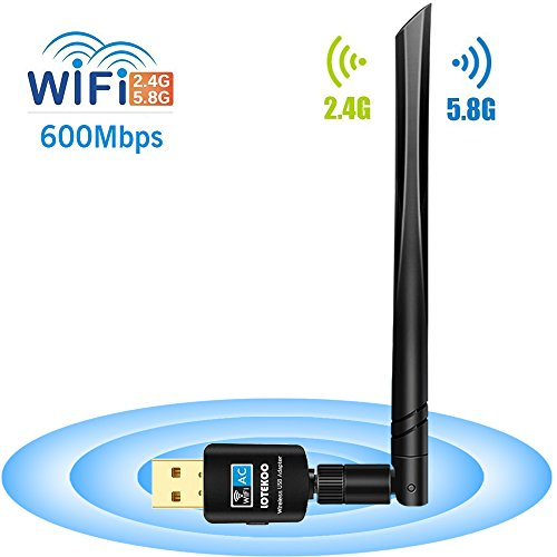 LOTEKOO USB WiFi Adapter 5dBi Antenna, 600Mbps Dual Band (2.4G/150Mbps+5G/433Mbps) Wireless Network Card Adapter for Desktop Laptop PC Windows 10/8.1/8/7/XP/Vista, MAC OS 10.4-10.13 by LOTEKOO