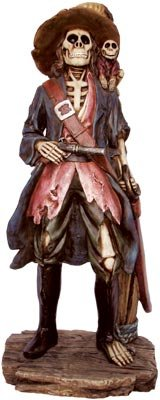 Pirate Skeleton Figurine (Skeleton Pirate Captain Nautical Figurine/Statue)