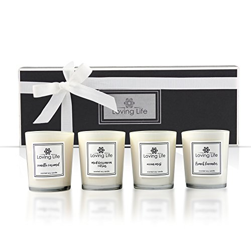 Scented Natural Candle Gift Set - Soy Wax Candles (Lavender, Citrus, Ocean Mist and Vanilla Caramel) for Relaxation - 4 x 2.8 Oz/80g by Loving Life