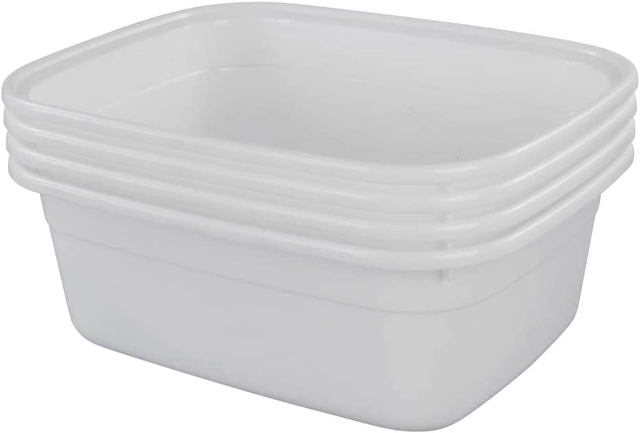 Lesbin 4-Pack 14 Quart Plastic Wash Basin/Dish Pan, White