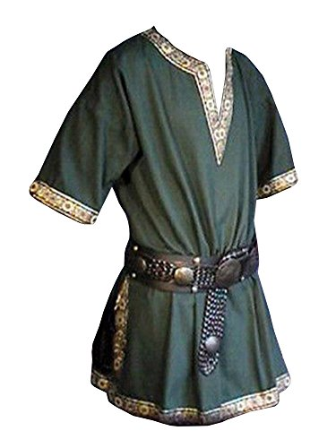 Karlywindow Men's Casual Medieval V Neck Short Sleeve Tribal Costume Shirts T-shirt