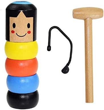 Wooden Magic Toy Gift Unbreakable Wooden Man Stubborn Magic Tricks Props Toys Blue