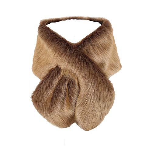 Old Dlrd Women's Winter Faux Fur Coat Wedding Bride Cloak Cape Shawl Evening Party