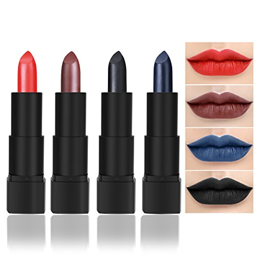 Black Lipstick, Matte Lipstick Set for Christmas, Theme Parties, Cosplay, Pack of 4 Colors