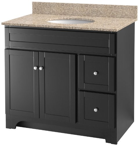 Foremost WREAT3621D-8W  Worthington 36-Inch Espresso Bathroom Vanity with Wheat Beige Granite Top and White Vitreous China Sink