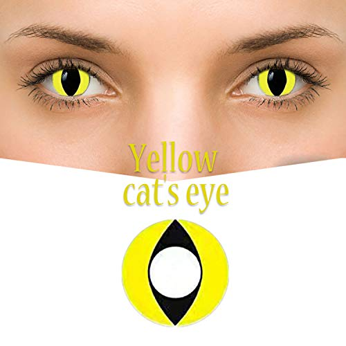 GL-Turelifes Multicolor Contact Lens 0 degree Cute Charm and Attractive Fashion Eye Accessories Cosmetic Makeup Eye Shadow for Party Cospaly Halloween (Yellow Cat' eyes) ()