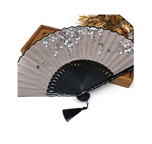 LIUUUU 1pcs Linen Chinese Blossom Bamboo Folding Fan Gift Bag Wedding Fors and Gifts Party Decoration Supplies,4