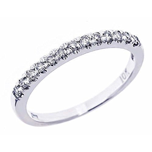 Pave Set Diamond Wedding Anniversary Band 10k White Gold (1/4 Cttw, I Color I Clarity)