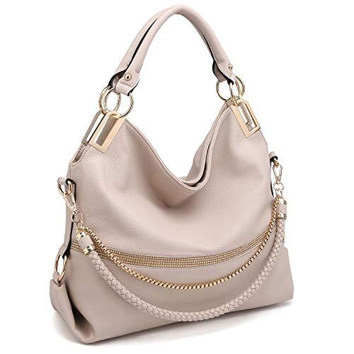 Dasein Women Classic Large Hobo Bag Rhinestone Chain Shoulder Bag Top Handle Purse (3-7350 Beige)