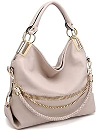 Womens Classic Large Hobo Bag Rhinestone Chain Shoulder Bag Top Handle Purse