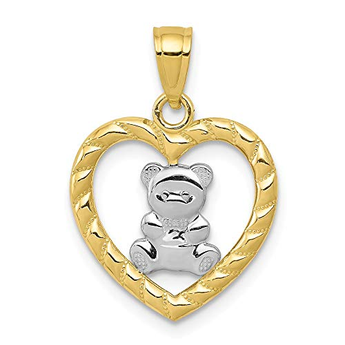 10k Yellow Gold Teddy Bear Heart Pendant Charm Necklace Kid Baby Fine Jewelry Gifts For Women For Her ()
